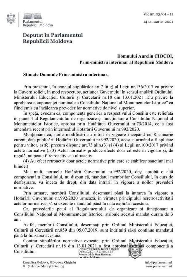 DOC | Fracțiunea PAS cere anularea ordinului MECC, prin care s-a aprobat componența nominală a Consiliului Național al Monumentelor Istorice