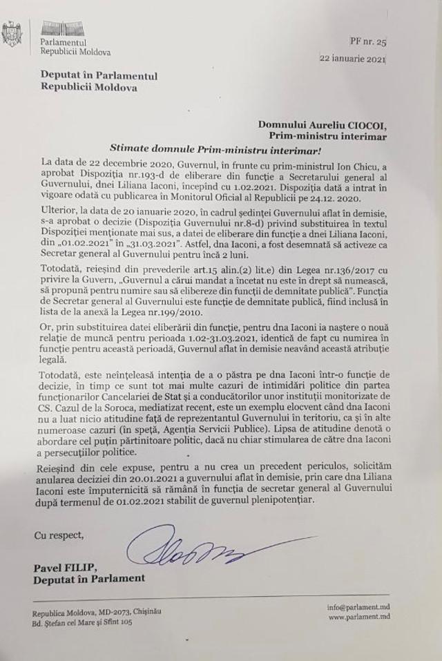 DOC | Liderul PDM, Pavel Filip, i-a adresat o scrisoare premierului interimar, Aureliu Coicoi, în care cere demisia Secretarului General al Guvernului, Liliana Iaconi