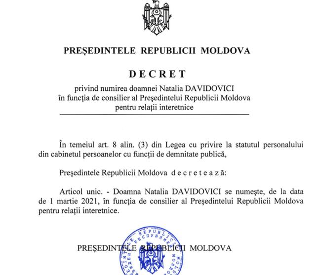 DOC | Maia Sandu a semnat decretul privind numirea consilierului prezidențial pentru relații interetnice
