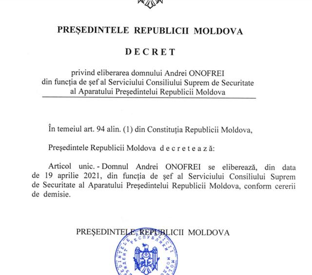 DOC | Maia Sandu a semnat decretul privind eliberarea din funcție a șefului Serviciului Consiliului Suprem de Securitate