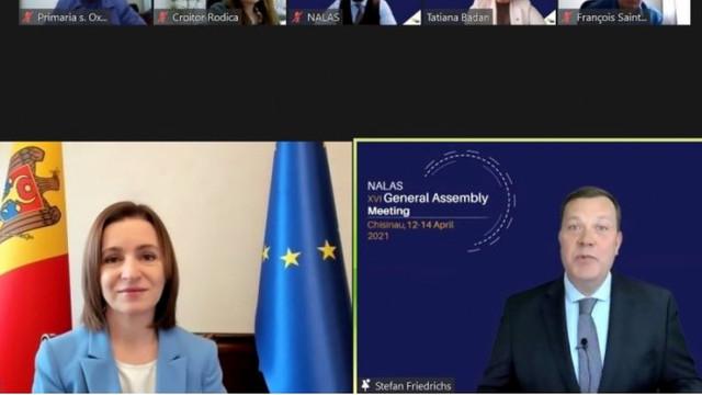 """Președinta Maia Sandu a participat la Adunarea Generală a NALAS: """"Avem obiective asemănătoare și aspirații comune, anume apropierea de familia europeană a națiunilor și crearea unor condiții de viață europene pentru cetățenii noștri"""""""