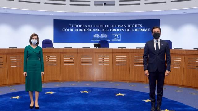 Președinta Maia Sandu s-a întâlnit, la Strasbourg, cu Președintele CEDO, Robert Spano