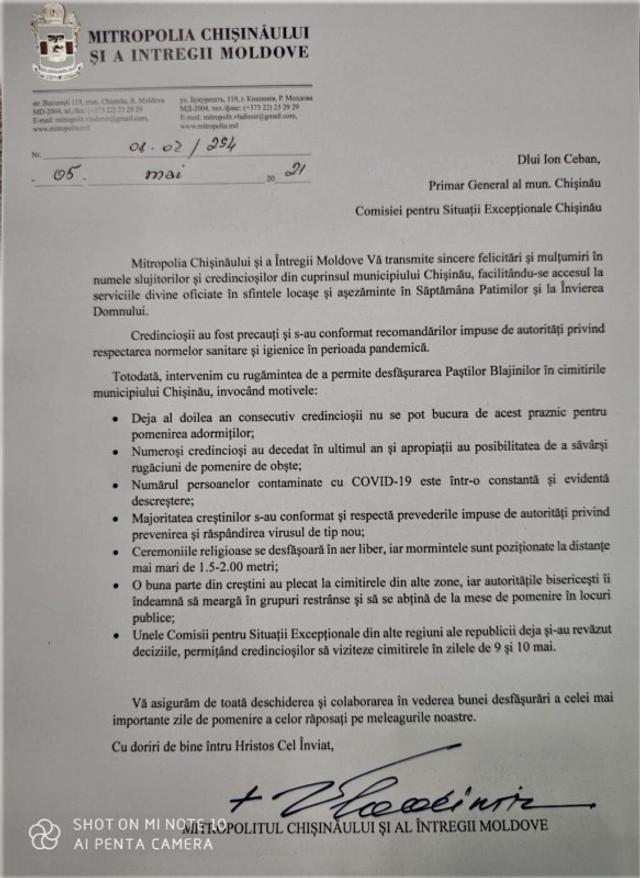 DOC | Mitropolitul Vladimir a adresat o scrisoare Primăriei Chișinău privind desfășurarea Paștelui Blajinilor în cimitire