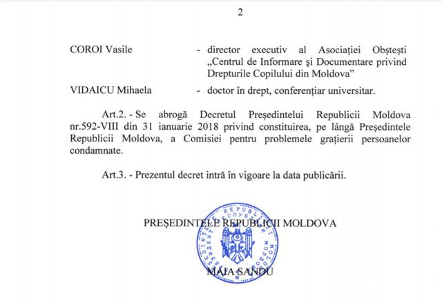 DOC   Decret privind constituirea Comisiei pentru problemele grațierii persoanelor condamnate, pe lângă președintele Republicii Moldova. Cine sunt membrii acesteia