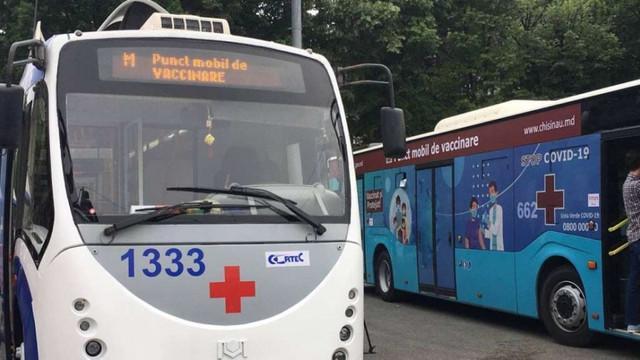 Chișinău | Amplasarea celor două puncte mobile pentru vaccinarea anti-COVID-19: troleibuzul se va afla în sectorul Buiucani iar autobuzul în orașul Vatra
