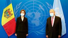 Întrevedere a președintei Maia Sandu cu secretarul general al ONU, António Guterres. Principalele subiecte abordate în cadrul discuției