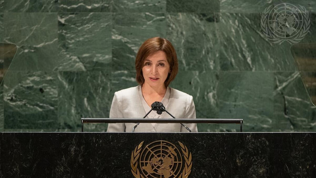"""Președinta Maia Sandu, la Adunarea Generală a ONU: """"Poziția noastră cu privire la retragerea trupelor ruse rămâne neschimbată. Aceasta presupune inclusiv retragerea munițiilor din depozitele de la Cobasna, care sunt o amenințare de securitate"""""""