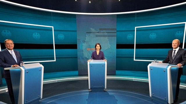 Cei trei candidați la funcția de cancelar al Germaniei au luat parte la ultima dezbatere, înaintea alegerilor de duminică